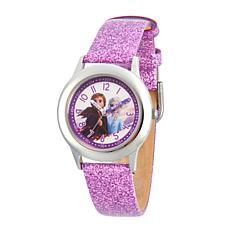 Disney Frozen 2 Kids' Elsa and Anna Purple Glitter Leather Strap Watch