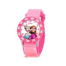 "Disney Frozen ""Anna and Elsa"" Kid's Pink Strap Time-Teacher Watch"