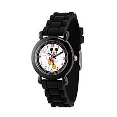 Disney Mickey Mouse Kid's Black Time Teacher Watch w/ Silicone Strap