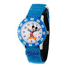 Disney Mickey Mouse Kid's Blue Bezel Time Teacher Watch w/ Nylon Strap