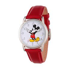 Disney Mickey Mouse Women's Silver Cardiff Watch w/ Red Leather Strap