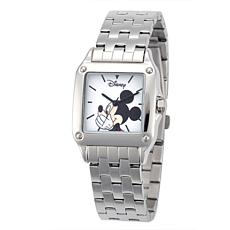 Disney Mickey Mouse Women's Silver Square  Watch w/ Steel Bracelet