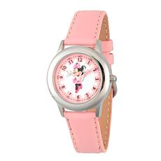 Disney Minnie Mouse Kids Time Teacher Watch w/ Pink Leather Strap