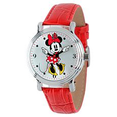 Disney Minnie Mouse Women's Shiny Silver Watch w/ Red Leather Strap