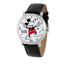 "Disney ""Vintage"" Mickey Mouse Men's Silvertone Leather Strap Watch"