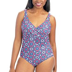 Dolfin Aquashape Printed Ruched One-Piece Swimsuit