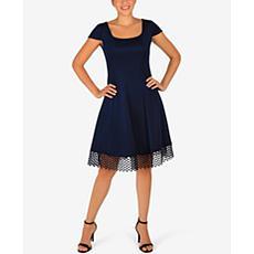 Donna Ricco Cap Sleeve Scuba Dress with Lace Trim