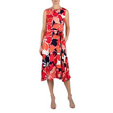 Donna Ricco Lightweight Linen-look Midi Dress with Self Belt