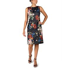 Donna Ricco Metallic Jacquard Stretch Sheath Dress