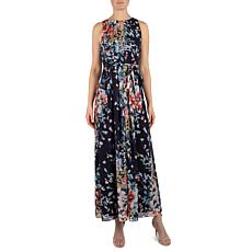 Donna Ricco Printed Chiffon Belted Maxi Dress with Gold Detail