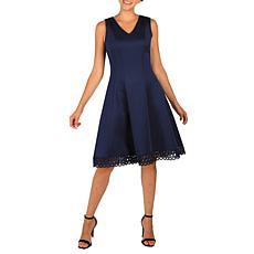 Donna Ricco Sleeveless Scuba Dress with Lace Trim