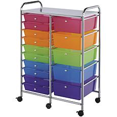 Double Storage Cart W/15 Drawers - 25.5X38X15.5 Multico