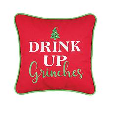 Drink Up Grinches Embroidered Pillow