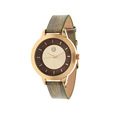 "Earth Wood ""Autumn"" Goldtone and Wood Dial Watch"