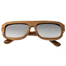 Earth Wood Daytona Sunglasses with Zebrawood Frame and Silver Lenses