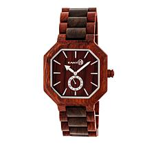 "Earth Wood Goods ""Acadia"" Reddish Brown Wood Bracelet Watch"