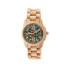 Earth Wood Heartwood Mosaic-Look Dial Light Wood Watch