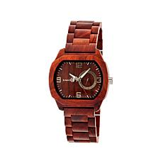 Earth Wood Scaly Tonneau Case Redwood Dial Watch