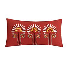 Echo Jaipur Red Embroidered Oblong Pillow
