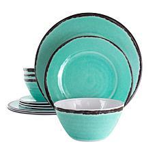 Elama Azul Banquet 12-Pc Lightweight Melamine Dinnerware Set-Turquoise