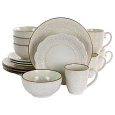 Elama Contessa 16 Piece Embossed Scalloped Stoneware Dinnerware Set...