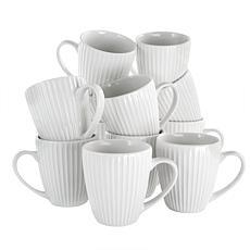Elama Elle 12-Piece Round Porcelain Mug Set in White