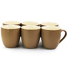 Elama Honeycomb 6-piece 15 oz. Mug Set - Brown