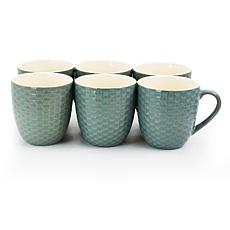 Elama Honeycomb 6-piece 15 oz. Mug Set - Turquoise