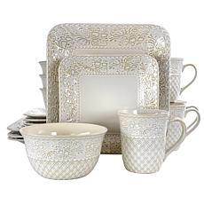 Elama Ivory Lotus 16 Piece Square Stoneware Dinnerware Set