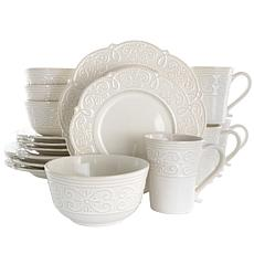 Elama Luna 16 Piece Embossed Scalloped Stoneware Dinnerware Set in ...