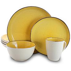 Elama Mellow-Yellow 16-Piece Dinnerware Set