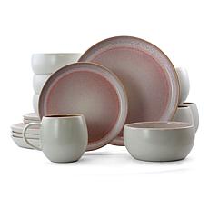 Elama Mocha Mauve 16 Piece Stoneware Dinnerware Set in Purple