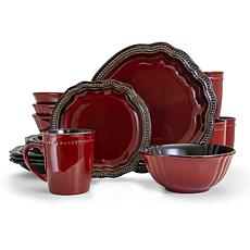 Elama Regency 16 Piece Stoneware Dinnerware Set in Red