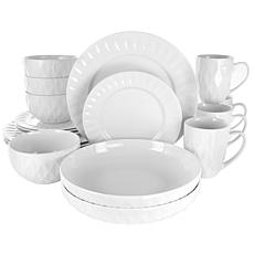 Elama Sienna 18-Pc Porcelain Dinnerware Set in White