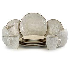 Elama White Lilly 16 Piece Stoneware Dinnerware Set