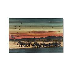 Elephant Herd 24x36 Print on Wood