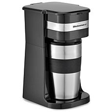 Elite Gourmet Single Serve Personal Coffee Maker with Travel Mug