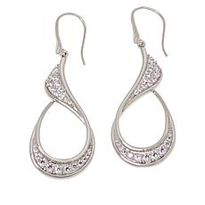 ELLE Sterling Silver Pavé CZ Teardrop Earrings