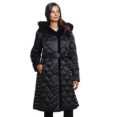 Ellen Tracy Diamond Quilted Faux Down Belted Coat