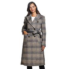 Ellen Tracy Mixed Media Wool Blend Wrap Coat