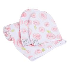 Ely's & Co. Jersey Cotton Swaddle Blanket with Baby Hat