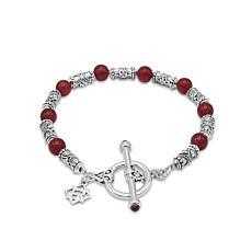Elyse Ryan Sterling Silver Carnelian Bead Bracelet