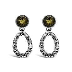 Elyse Ryan Sterling Silver Olive Quartz Doorknocker Earrings