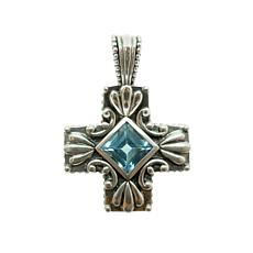Elyse Ryan Sterling Silver Swiss Blue Topaz Cross Enhancer Pendant