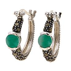 Emerald  and Gray Marcasite  Hoops - May