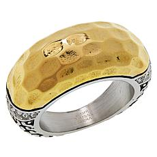 Emma Skye Stainless Steel Crystal-Accented Hammered 2-Tone Ring
