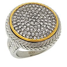 Emma Skye Stainless Steel Pavé Crystal Textured 2-Tone Ring