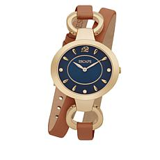"ESCAPE Women's ""Soho"" Goldtone Brown Leather Wrap Watch"