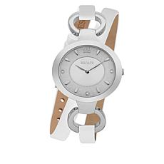 "ESCAPE Women's ""Soho"" Silvertone White Leather Wrap Watch"
