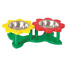 Etna Green, Yellow and Red Flower Pet Feeder Set